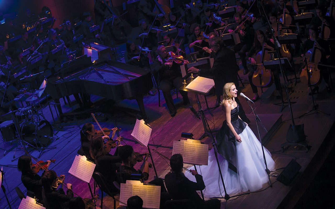 Christy Altomare, a 2008 CCM  graduate, performs a song from Anastasia: The Musical at the Moveable Feast benefit.